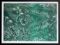 Hervé DI ROSA - Print-Multiple - En Traversant le Pont - Vert