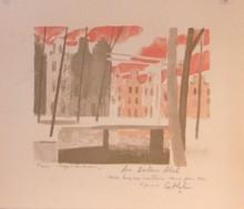 Bernard CATHELIN - Grabado - Neige a Amsterdam (1970) P 51   signe