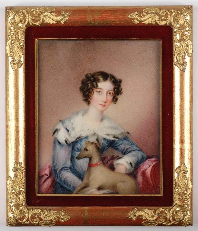 "Frederick HARDING - Miniatura - ""Lady with Dog"", Portrait Miniature"
