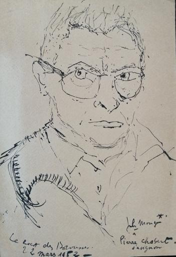 Jules MOUGIN - Dibujo Acuarela - Autoportrait