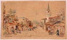 """Ferencz EISENHUT - Dessin-Aquarelle - """"Oriental Village"""" by Ferenc Eisenhut, 1890"""