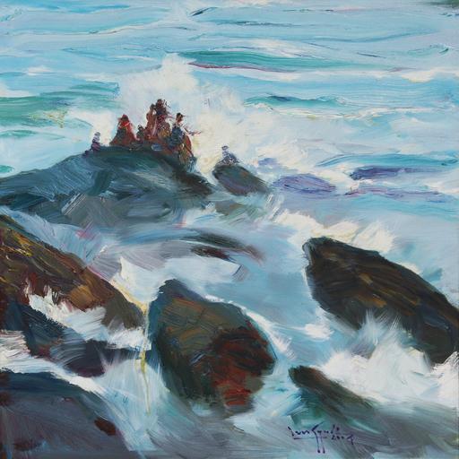 余龍義 - 绘画 - A Family at the Shore