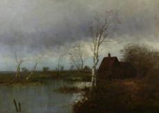 Hendrik Jan WOLTER - Painting - grosse Holländische Flußlandschaft,Dutch River landscape