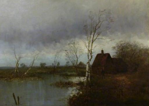 Hendrik Jan WOLTER - Pintura - grosse Holländische Flußlandschaft,Dutch River landscape