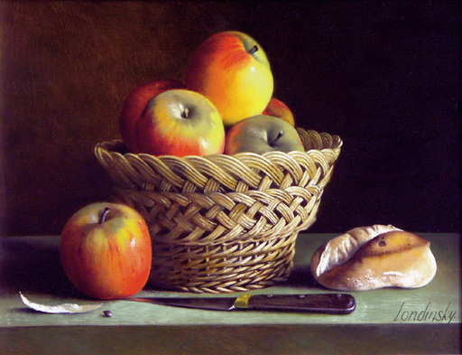 Bernard LONDINSKY - Pintura - Corbeille de reinette et petit pain