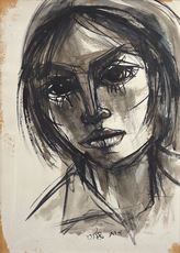 Ruth SCHLOSS - Drawing-Watercolor - Portrait of a Girl
