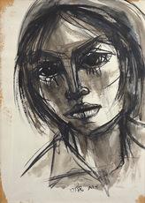 Ruth SCHLOSS - Dibujo Acuarela - Portrait of a Girl