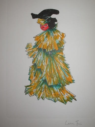 Leonor FINI - Estampe-Multiple - Le chat en robe du soir,1973.