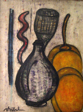 Edgar STOEBEL - Painting - Still Life with Apricots