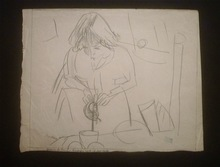 Jules PASCIN - Disegno Acquarello - Hermine David servant le thé