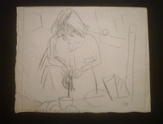 Jules PASCIN - Drawing-Watercolor - Hermine David servant le thé