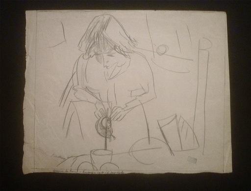 Jules PASCIN - Dibujo Acuarela - Hermine David servant le thé