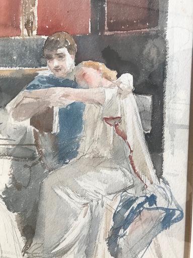Ulpiano CHECA Y SANZ - Drawing-Watercolor - Quo Vadis ? Vinicius chez Pétrone