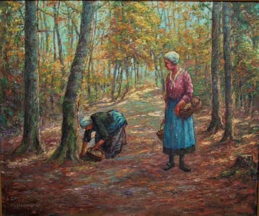 Claude LIGONESCHE - Pittura - Femmes ceuillant des champignons en forêt