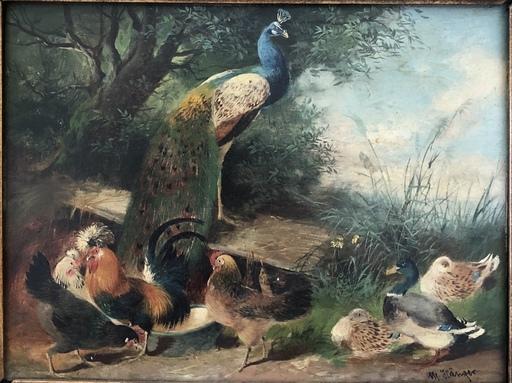 Max I HÄNGER - Peinture - Hühner,Enten und Pfau
