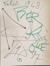 """Salvador DALI - Drawing-Watercolor - """"Feliz '68"""""""