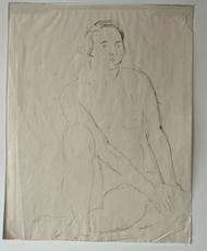 Othon COUBINE - Dessin-Aquarelle - Femme assise nue