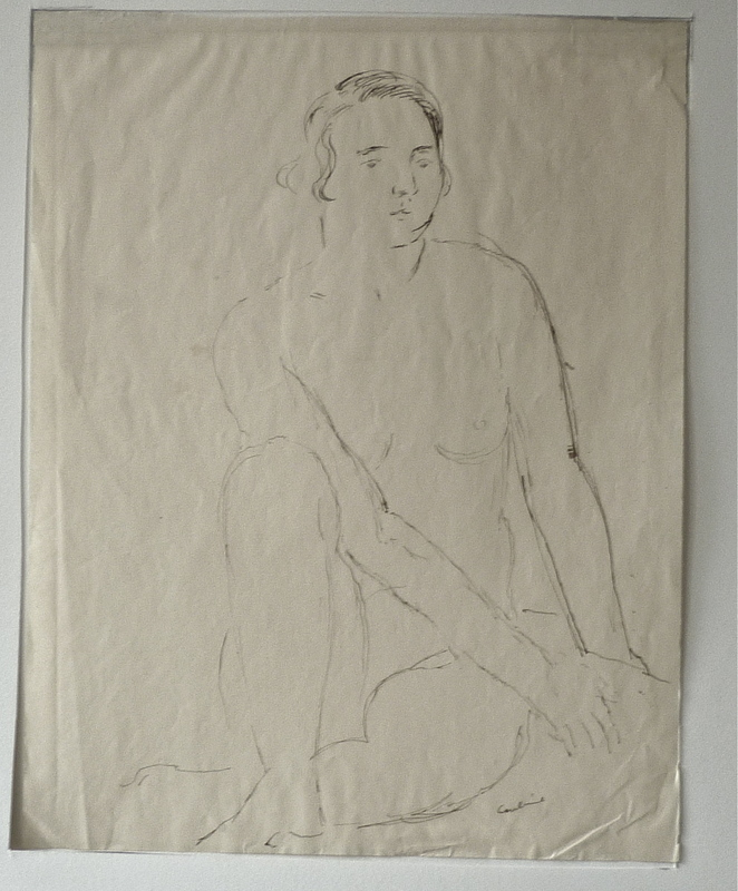 Othon COUBINE - Drawing-Watercolor - Femme assise nue