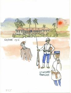 Hugo PRATT - Dibujo Acuarela - Cayenne 1916