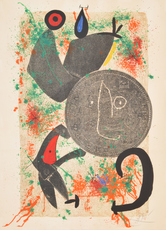 Joan MIRO - Grabado - Large Joan Miro Lithograph, Signed Edition