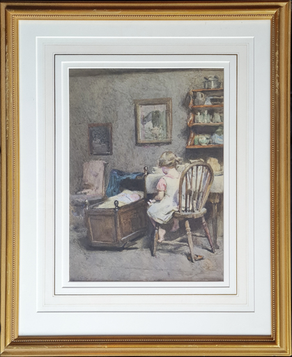 Millicent GORE - Disegno Acquarello - Watching over Baby