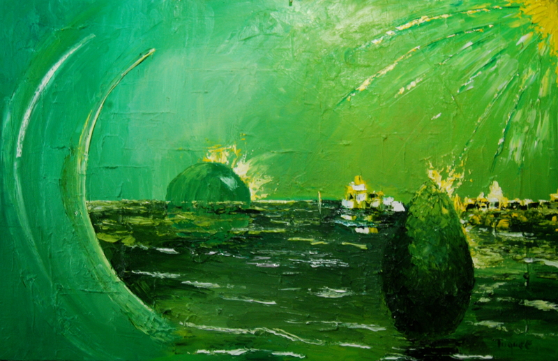 Serge Louis TUQUET - Painting - Cité du Rayon Vert - City of the Green Ray-