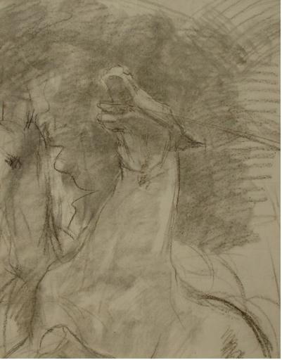 """Ulpiano CHECA Y SANZ - Drawing-Watercolor - """"Irrintzi"""" Grito del caballo"""