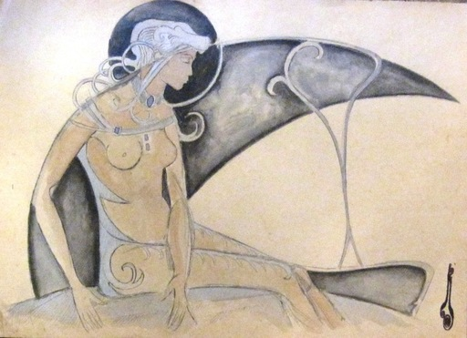 Nicolas KALMAKOFF - Dibujo Acuarela - NUDE