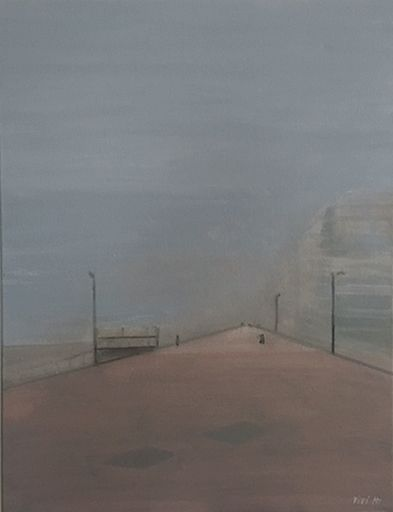 Vivi HERREBOUDT - Pittura - Foggy day on the sea wall    (Cat N° 6575)