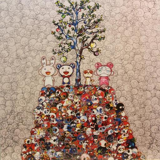Takashi MURAKAMI - Estampe-Multiple - Kaikai, Kiki, DOB and Pom atop the Mound of Dead