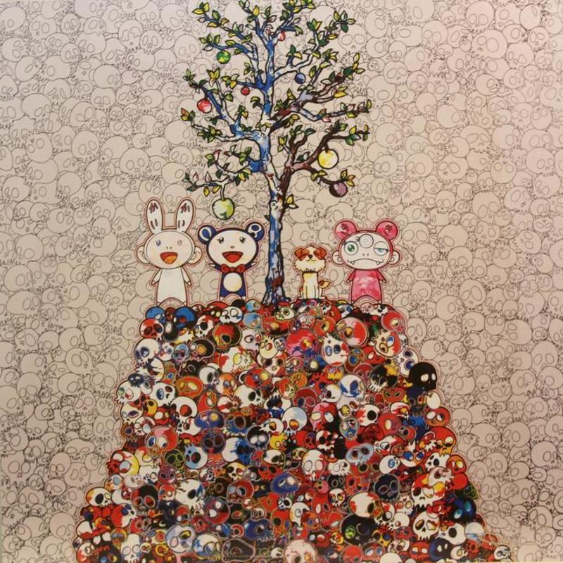 Takashi MURAKAMI - Stampa Multiplo - Kaikai, Kiki, DOB and Pom atop the Mound of Dead