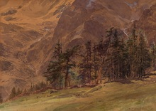 Edward Theodore COMPTON - Drawing-Watercolor - Mountains At Twilight