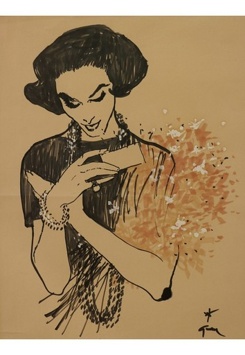 René GRUAU - Drawing-Watercolor - Femme recevant un bouquet, vers 1957