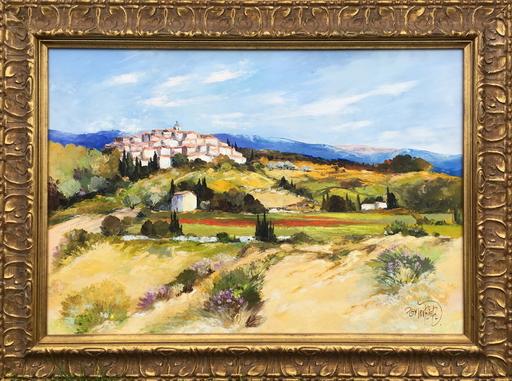 Ray POIRIER - Gemälde - Village aux coquelicots