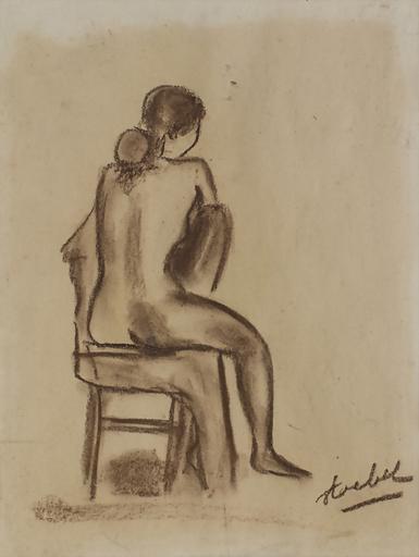 Edgar STOEBEL - 水彩作品 - Seated Nude