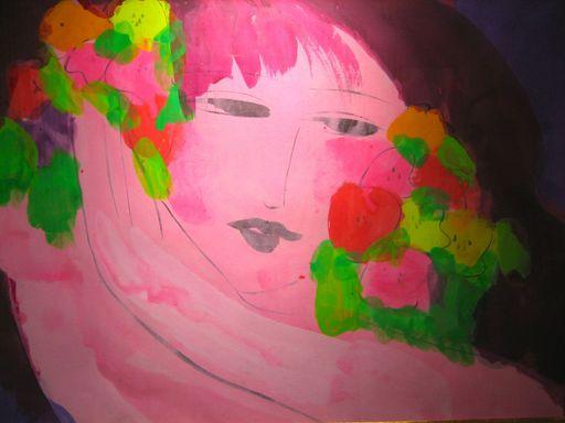 TING Walasse - Painting - Pink Lady, +