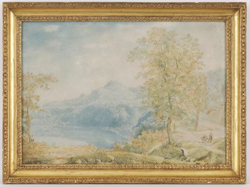 Franz KAISERMANN - Drawing-Watercolor - Lago di albano