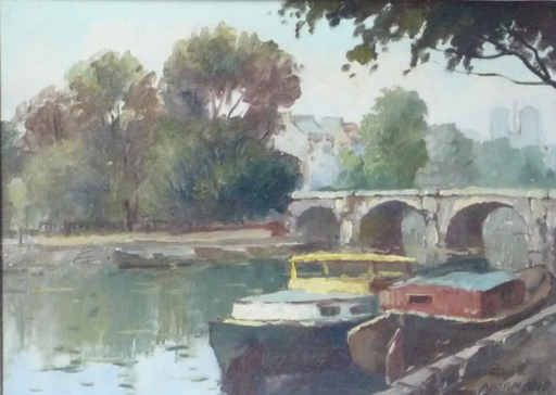 Raymond NORMAND - Painting - la seine a paris