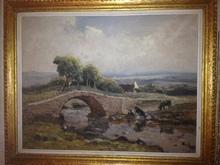 Fernand MAILLAUD - Painting - BERRICHONNE LAVANT LE LINGE DEVANT PETIT PONT DE PIERRE