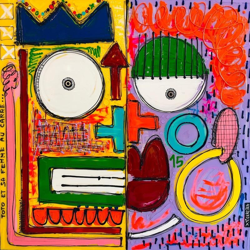 David FERREIRA - Painting - Toto et sa femme au carré