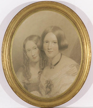 "James SANT - Dibujo Acuarela - ""Portrait of Two Sisters"", ca.1850"