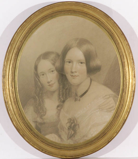 """James SANT - Drawing-Watercolor - """"Portrait of Two Sisters"""", ca.1850"""