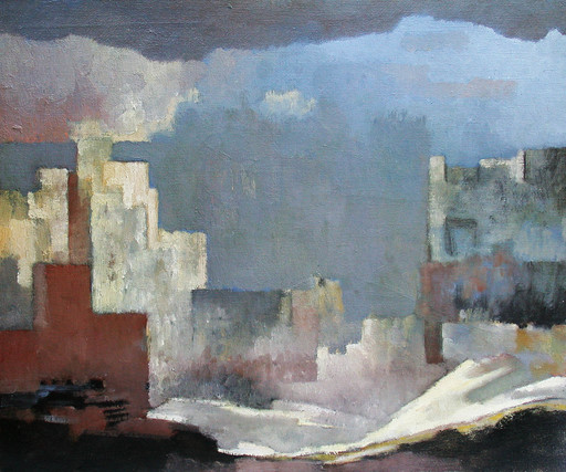 Rodolphe Théophile BOSSHARD - Pintura - Paysage de ruines surréalistes