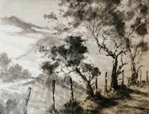 Edmond Amédée MELOT - Dibujo Acuarela - Arbres en Provence