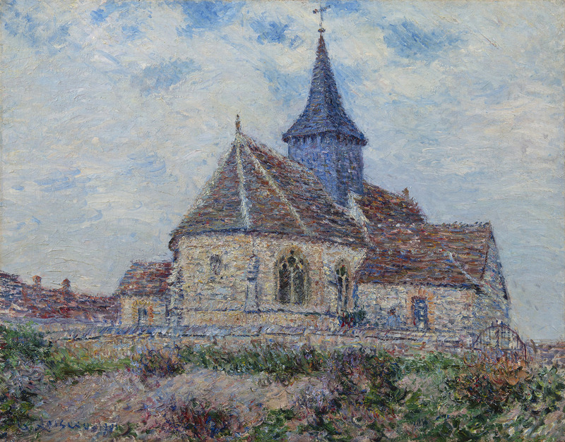 Gustave LOISEAU - Peinture - L'église de Porte-Joie dans L'Eure