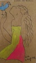 Linda LE KINFF - Dibujo Acuarela -  Cubisme l'oiseau du bonheur