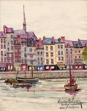 Francisque RABERAIN - Drawing-Watercolor - HONFLEUR CALVADOS QUAI ST CATHERINE