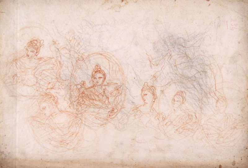 Donato CRETI IL DONATINO - Drawing-Watercolor - A SHEET OF STUDIES OF FEMALE BUSTS IN OVAL