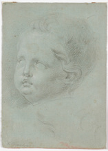 "Francesco CASANOVA - Dibujo Acuarela - Francesco Casanova (1727-1802) ""Child's head study"" drawing"