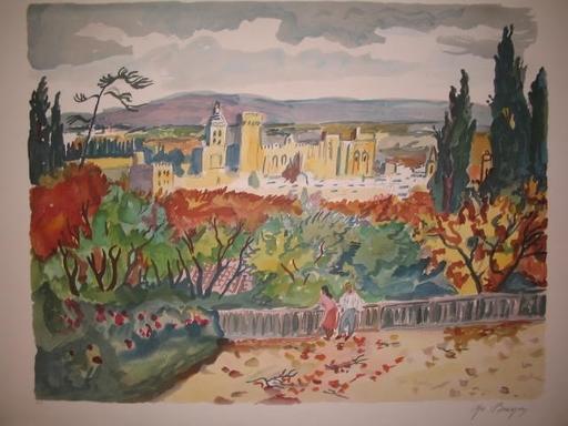 Yves BRAYER - Estampe-Multiple - Avignon,Le Palais des Papes,1986.